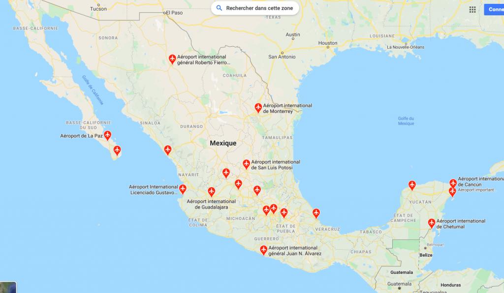 carte aéroports mexique
