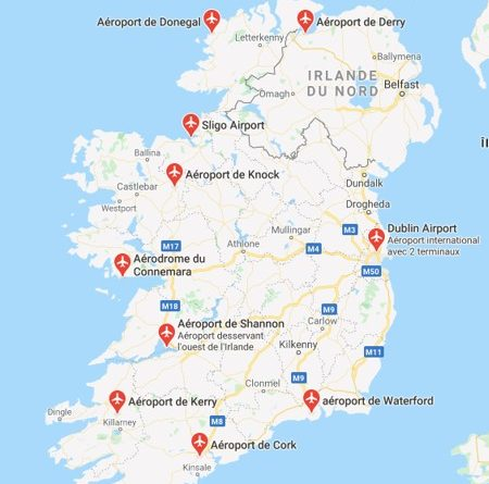 carte irlande aeroport
