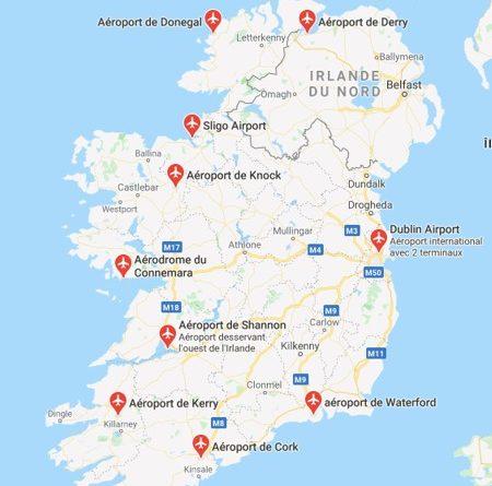 carte irlande aeroport