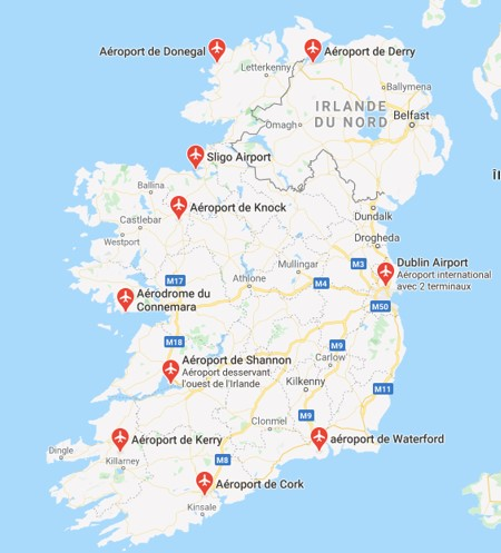 carte aeroport irlande