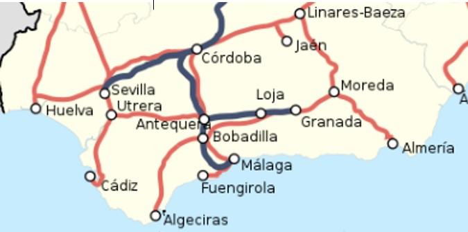carte andalousie chemin de fer
