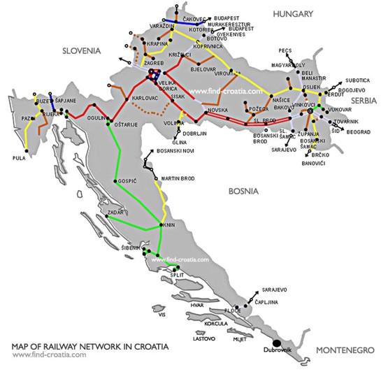 carte ligne ferroviaire Croatie