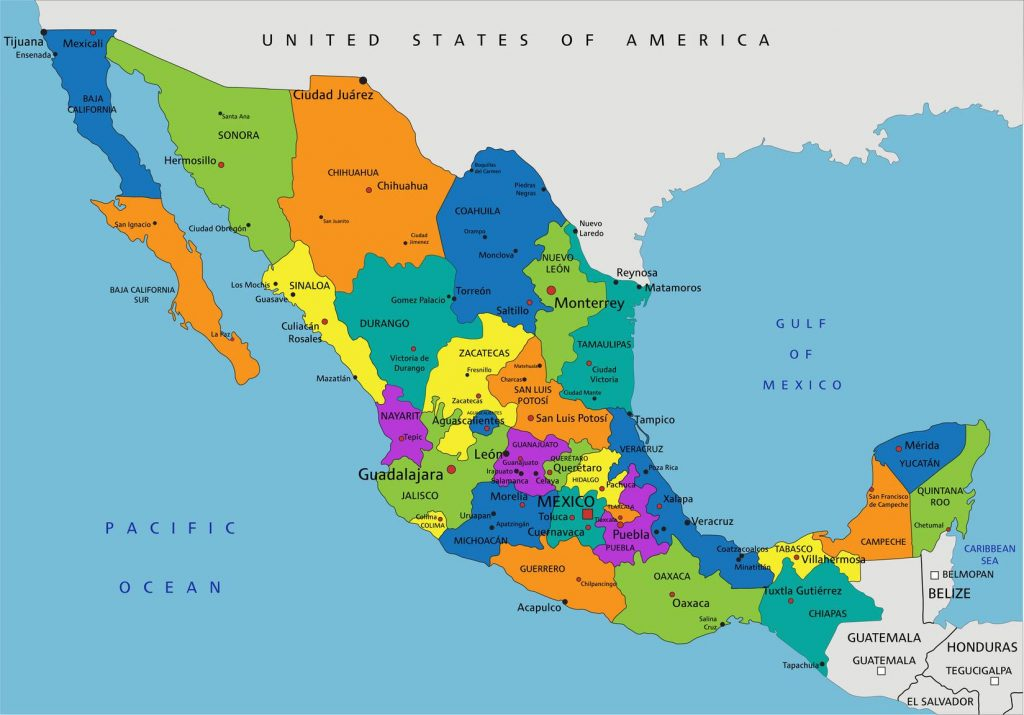 cartes états mexique