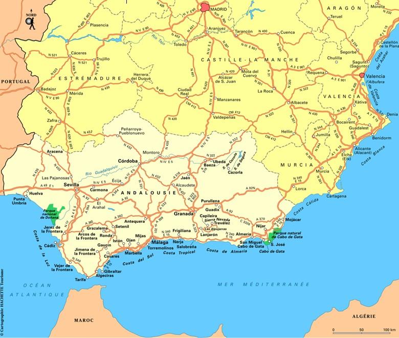 carte andalousie routes