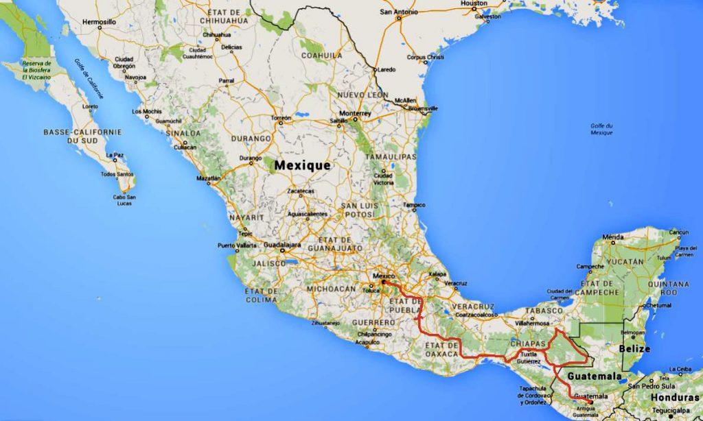 carte route mexique
